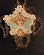 Antique Victorian-era Tinsel And Die Cut Christmas Ornament