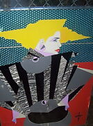 Orig 1980and039s Signed Art Fashion Figure Collage Mixed Media Nagel/deco Influence
