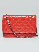 Pink Quilted Patent Leather Classic Woc Clutch Bag