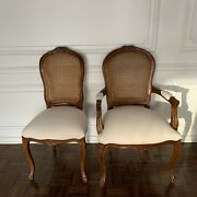 Traditional Style Rattan Back Chairs Pair