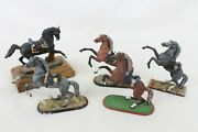 5 Cast Metal Quality Toy Solider Horse Niena Lot War Military Made In Russia