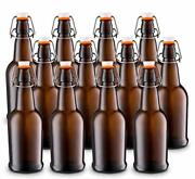 Beer Bottle W/ Easy Wire Cap And Airtight Rubber Seal For Home Brewing 16oz 12pk