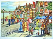 Ari Gradus Afternoon Stroll Signed Lithograph, Colorful Victorian Street Scene