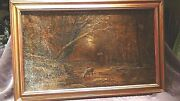 Antique 18c French Old Master Oil On Canvas Paintingautumn In Avirondod,signed