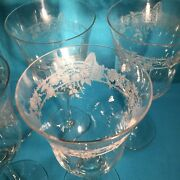 5 Morgantown Bramble Rose 1920s Etched Basket W Roses Water Wine Goblets Ex