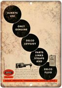 Delco Fluid Vintage Sign Motor Oil 12 X 9 Reproduction Metal Sign A680