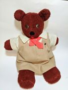 Rare Antique Teddy Bear Dressed As American Girl Scout Brownie Button Eyes 1950s