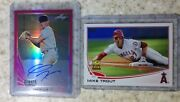 2019 Leaf Metal Draft Gavin Lux Rc Auto Pink Prismatic/20 And Mike Trout 2013 Cup