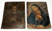 2pc 18/19c Russian Icon Paintings On Tin Mater Dei Holy Mother And Male Saint Mee