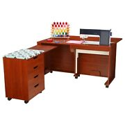 Arrow Laverne And Shirley Sewing Cabinet And Caddy In Teak