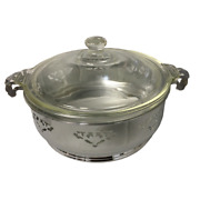 Vintage Pyrex Round Casserole Dish With Lid And Decorative Chrome Carrier Trivet