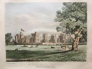 1851 Antique Rare Print Windsor Castle From Pathway To Datchet After Greenwood