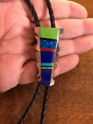 Native American Indian Navajo Bolo Tie Multi Stone Turquoise Inlay Ties Wow E