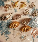 13vintage Glass Xmas Ornaments Snowman- House- Pinecones-hearts-bell W/angel