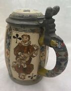 Villeroy And Boch Mettlach Stein 2093 Playing Cards - 1/2 Liter - C.1901