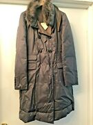 Nwt Brunello Cucinelli 100 Goose Down Coat Fur Cashmere Wool Made Italy Size 42