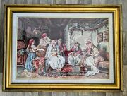 Large Gorgeous Romanian Wedding Cross Stitch Finished Completed Huge Gold Frame