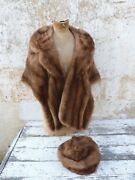 Vintage 1950/1960 S French Mink Fur Stole Wrap Scarf Capelet And Assorted Hat