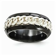 Black Ti Titanium Sterling Silver 9mm Chain Link Inlay Wedding Band Sizes 8 - 13