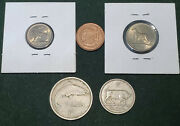 Ireland Lot 5 Coins Collection 1p 3 6d 1 2 Shilling Dog Bull Fish 1959-1996 Eire