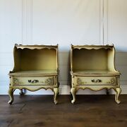 Custom Finish Vintage French Provincial Glam Nightstands Pair Set End Tables