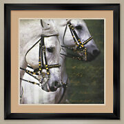 32wx32h Carousel Horses By Kimberly Vickrey - Double Matte Glass And Frame