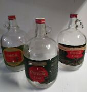 Lot Of 3 Vintage Coca-cola 1 Gallon Glass Syrup Jars W/serial And039s