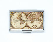 Business And Credit Card Vintage World Maps Map Stainless Steel Pocket Box