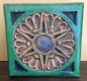 Arts And Crafts Grueby Era Art Pottery 8 Inch Square Block Tile