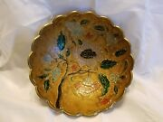 Round Footed 6 1/2 Solid Brass Bowl W/ Enameled Interior And Scalloped Edges