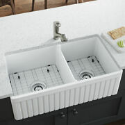 413 Fireclay Farmhouse Kitchen Sink Two Grids And Two Basket Strainers
