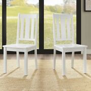White Dining Chairs Set Of 2 Kitchen Wood Furniture Mission Style Wooden New