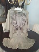 New Spencer Alexis Collections Lt Beige 3pc Portrait Collar Embroidery Petite Me