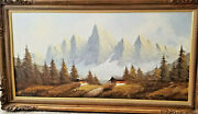 Vintage A. Silver Signed Mountain Landscape Oil Painting