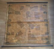 Antique 1856 York County Maine J.l. Smith And Co Scroll Map 60x60 Inches Rare Htf
