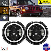 7inch Halo Angel Eyes Led Projector Headlights For Jeep Wrangler Patriot Compass