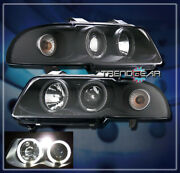 1996-1999 Audi A4 S4 Dual Halo Led Projector Headlight Lamp Black 1997 1998 2in1