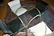 Mid Century Italian Dining Set Leather And Chrome Chairs With Glass Table