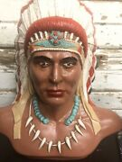 Vintage Native American Indian Hand Painted Chalkware/plaster Bust