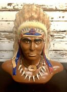 Large Vintage Native American Chief Chalkware Bust