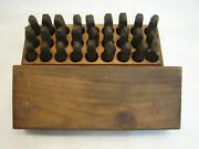 Vintage Nms Co Machinist Steel Letter Punch Marking Stamping Set Box Tool 3/8