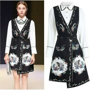 Spring Women Formal White Blouse Beaded Crystal Long Sleeve Top Dress 2pcs Suit