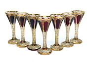 7 Moser Cabochon And Raised Gilt Garnet Red To Clear Glass Claret Wine Goblets