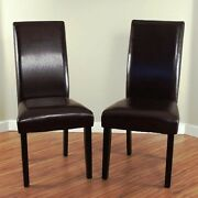 Brown Leather Dining Room Chairs Set Of 2 Parson High Back Chair Furniture New