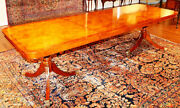 Stunning Light Burled Walnut Dining Table With 2 Leaves Narrow 38 Depth