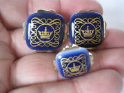 Royal Copenhagen Square Blue Crown Cufflinks And Tie Tack New Old Stock