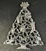 Christmas Tree Trivet Or Wall Hanging Peace On Earth Silver Plated Rubber Feet