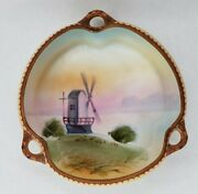 Dish Windmill Motif Nippon Made Hand Painted Porcelain