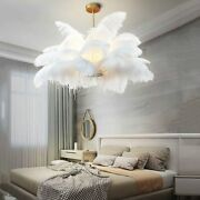 Ceiling Lights Natural Ostrich Feather Led Pendant Lamp Bedroom Hanging Lamps