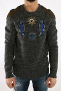 New Dolce And Gabbana Sweater King Knight Gray Wool Cashmere Beaded S. It52 / Xl